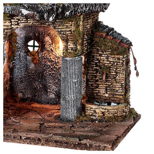 Temple en ruine fontaine et maison crèche napolitaine 40x50x30 cm pour santons 8 cm 2