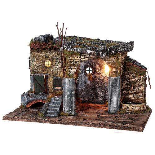 Temple en ruine fontaine et maison crèche napolitaine 40x50x30 cm pour santons 8 cm 3