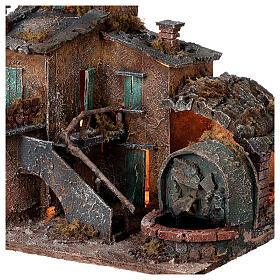 Aldeia em miniatura estilo '700 com fontanário para presépio napolitano com figuras de altura média 8 cm, medidas: 40x42x32 cm s4