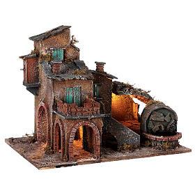 Aldeia em miniatura estilo '700 com fontanário para presépio napolitano com figuras de altura média 8 cm, medidas: 40x42x32 cm s5
