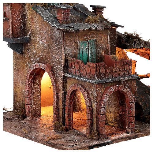 Aldeia em miniatura estilo '700 com fontanário para presépio napolitano com figuras de altura média 8 cm, medidas: 40x42x32 cm 2