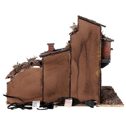Aldeia em miniatura estilo '700 com fontanário para presépio napolitano com figuras de altura média 8 cm, medidas: 40x42x32 cm 6