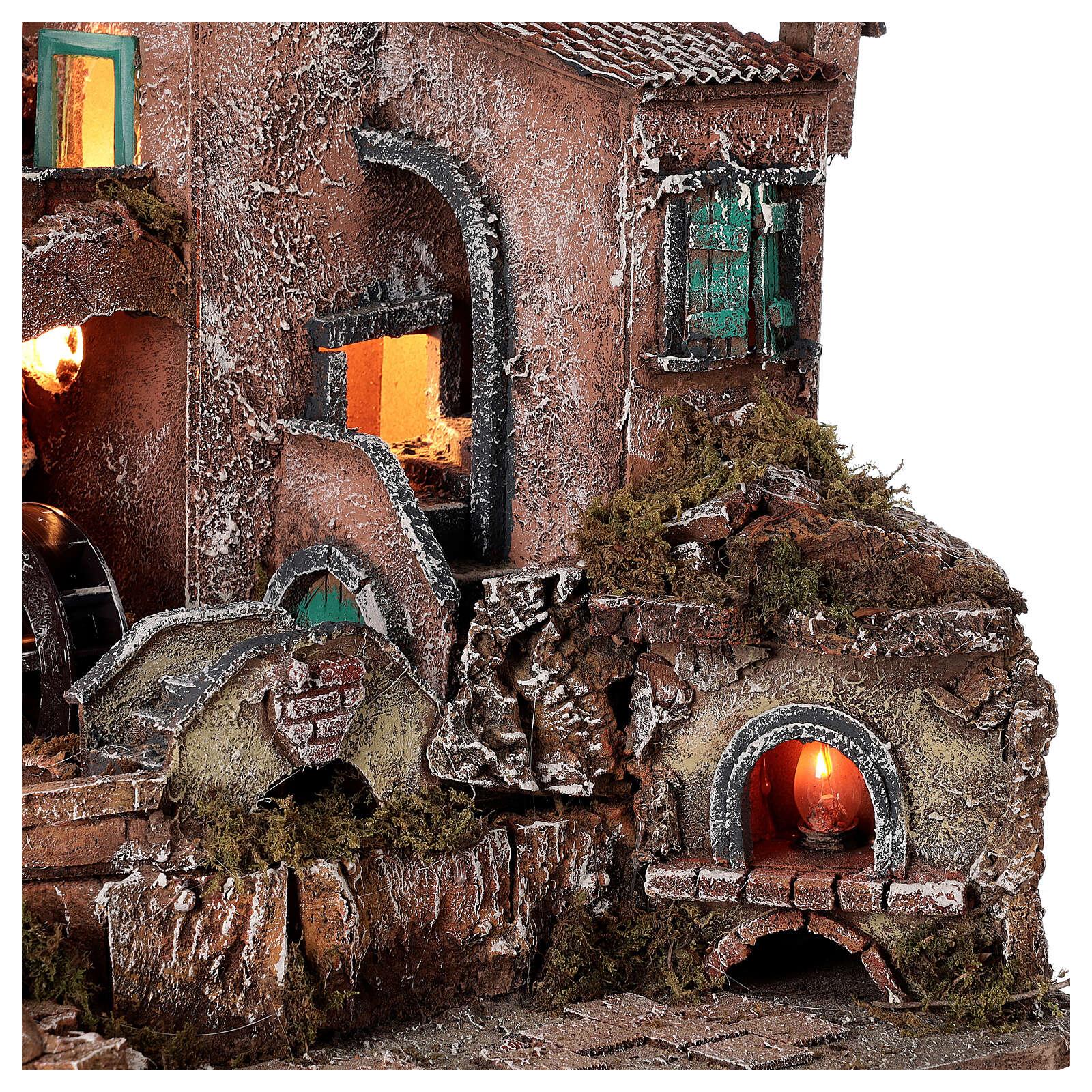 Rustic village set 1700s mill oven bridge 8-10 cm Neapolitan nativity 40x50x40 cm 4