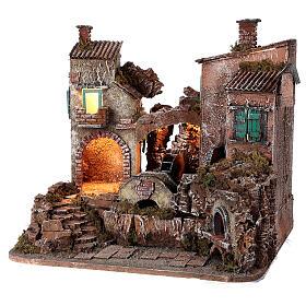 Rustic village set 1700s mill oven bridge 8-10 cm Neapolitan nativity 40x50x40 cm s3