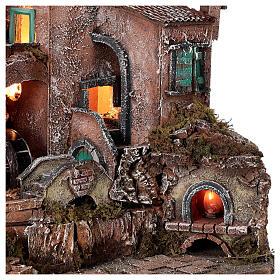 Rustic village set 1700s mill oven bridge 8-10 cm Neapolitan nativity 40x50x40 cm s4