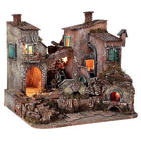 Rustic village set 1700s mill oven bridge 8-10 cm Neapolitan nativity 40x50x40 cm s5