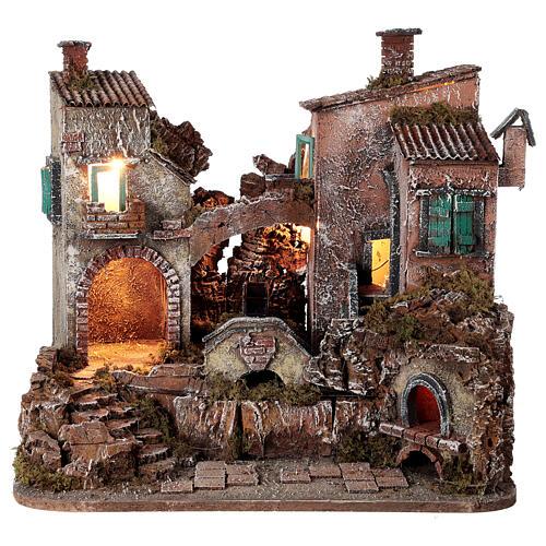 Rustic village set 1700s mill oven bridge 8-10 cm Neapolitan nativity 40x50x40 cm 1