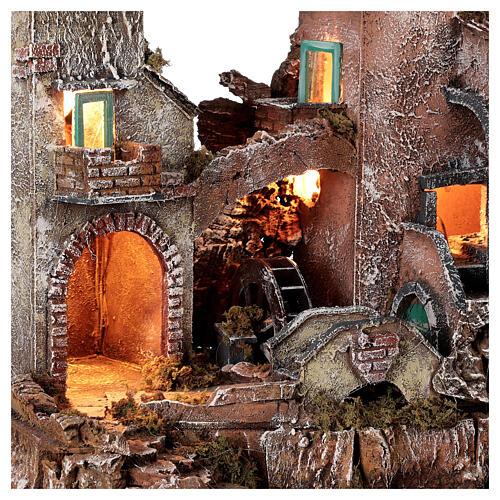 Rustic village set 1700s mill oven bridge 8-10 cm Neapolitan nativity 40x50x40 cm 2