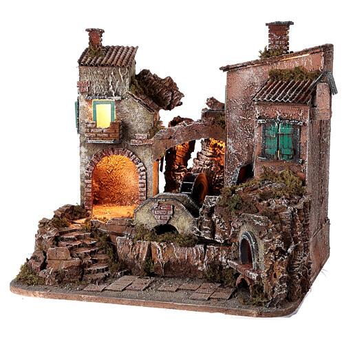 Rustic village set 1700s mill oven bridge 8-10 cm Neapolitan nativity 40x50x40 cm 3