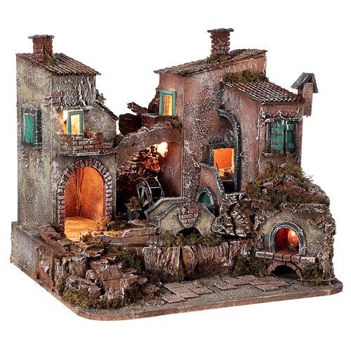 Rustic village set 1700s mill oven bridge 8-10 cm Neapolitan nativity 40x50x40 cm 5
