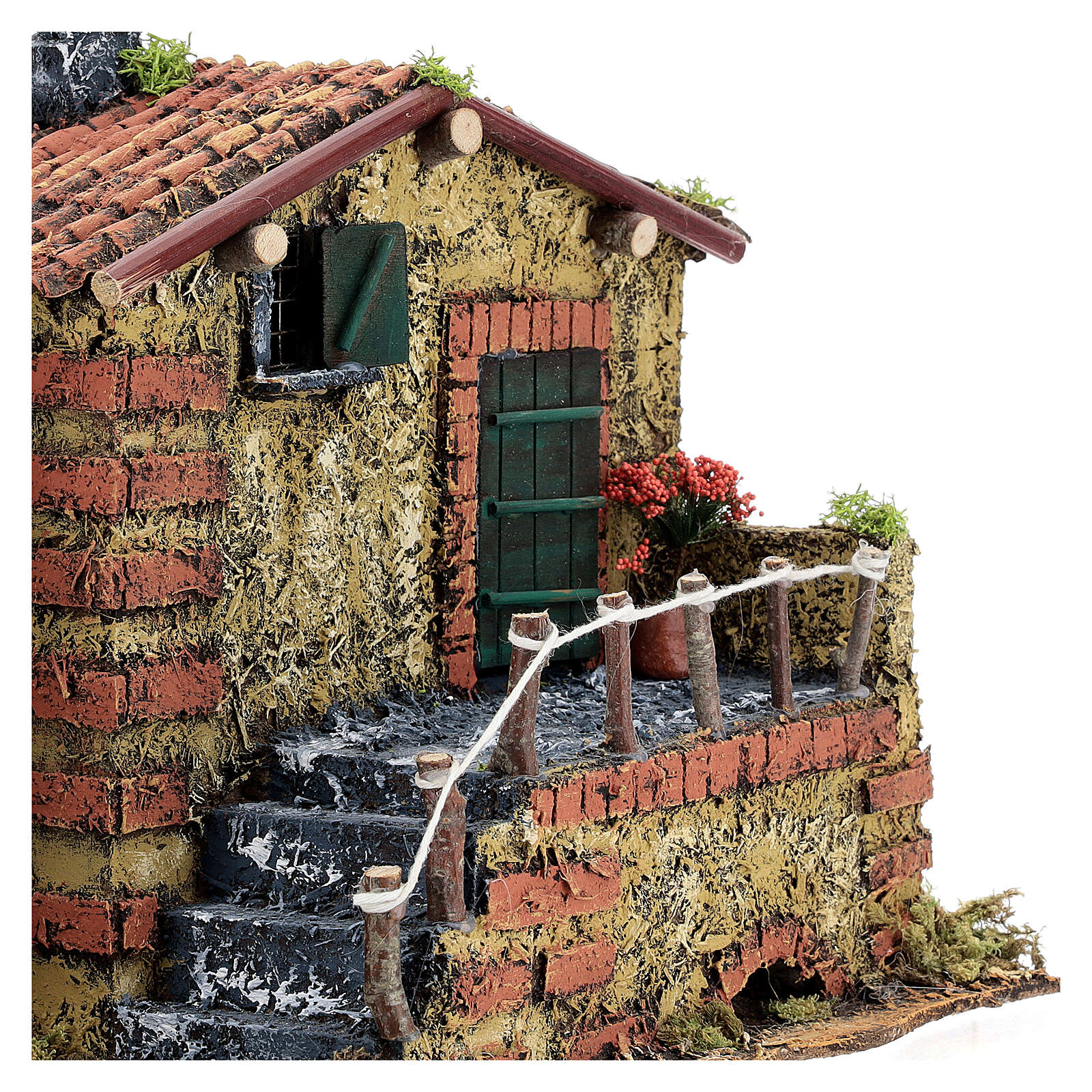Masonry Nativity house for statues 6 cm 25x30x20 cm 4