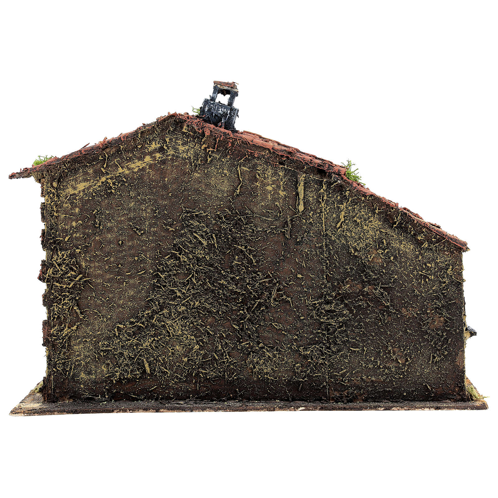 Casa em miniatura musgo e cortiça para presépio napolitano com figuras de altura média 6 cm, 25x32x20 cm 4