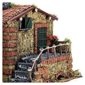 Casa em miniatura musgo e cortiça para presépio napolitano com figuras de altura média 6 cm, 25x32x20 cm s2