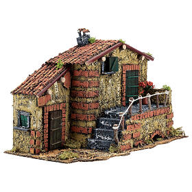 Casa em miniatura musgo e cortiça para presépio napolitano com figuras de altura média 6 cm, 25x32x20 cm s4