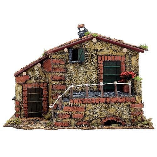 Casa em miniatura musgo e cortiça para presépio napolitano com figuras de altura média 6 cm, 25x32x20 cm 1