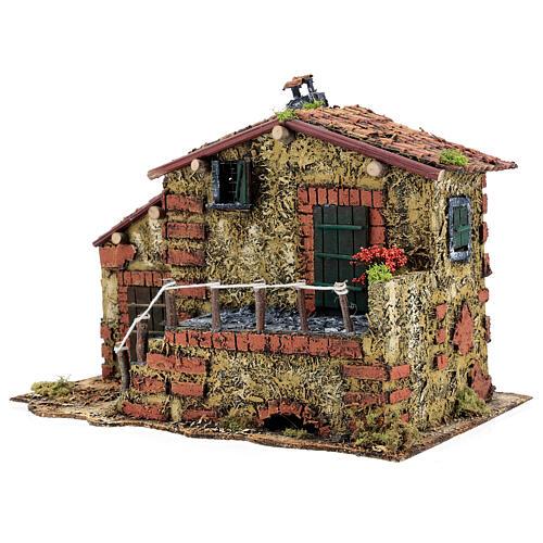 Casa em miniatura musgo e cortiça para presépio napolitano com figuras de altura média 6 cm, 25x32x20 cm 3