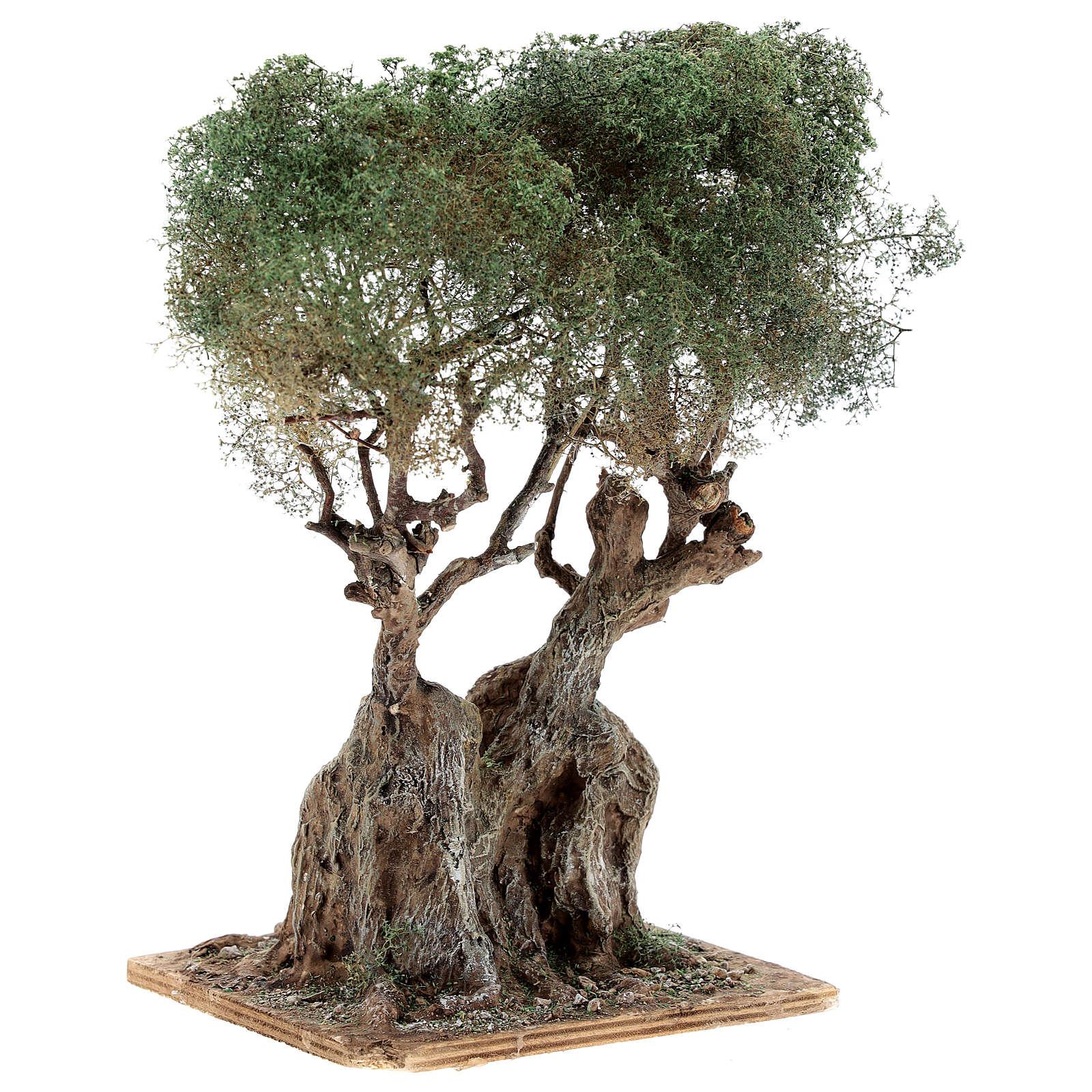 Árbol olivo realista belén napolitano madera cartón piedra h real 20 cm 4