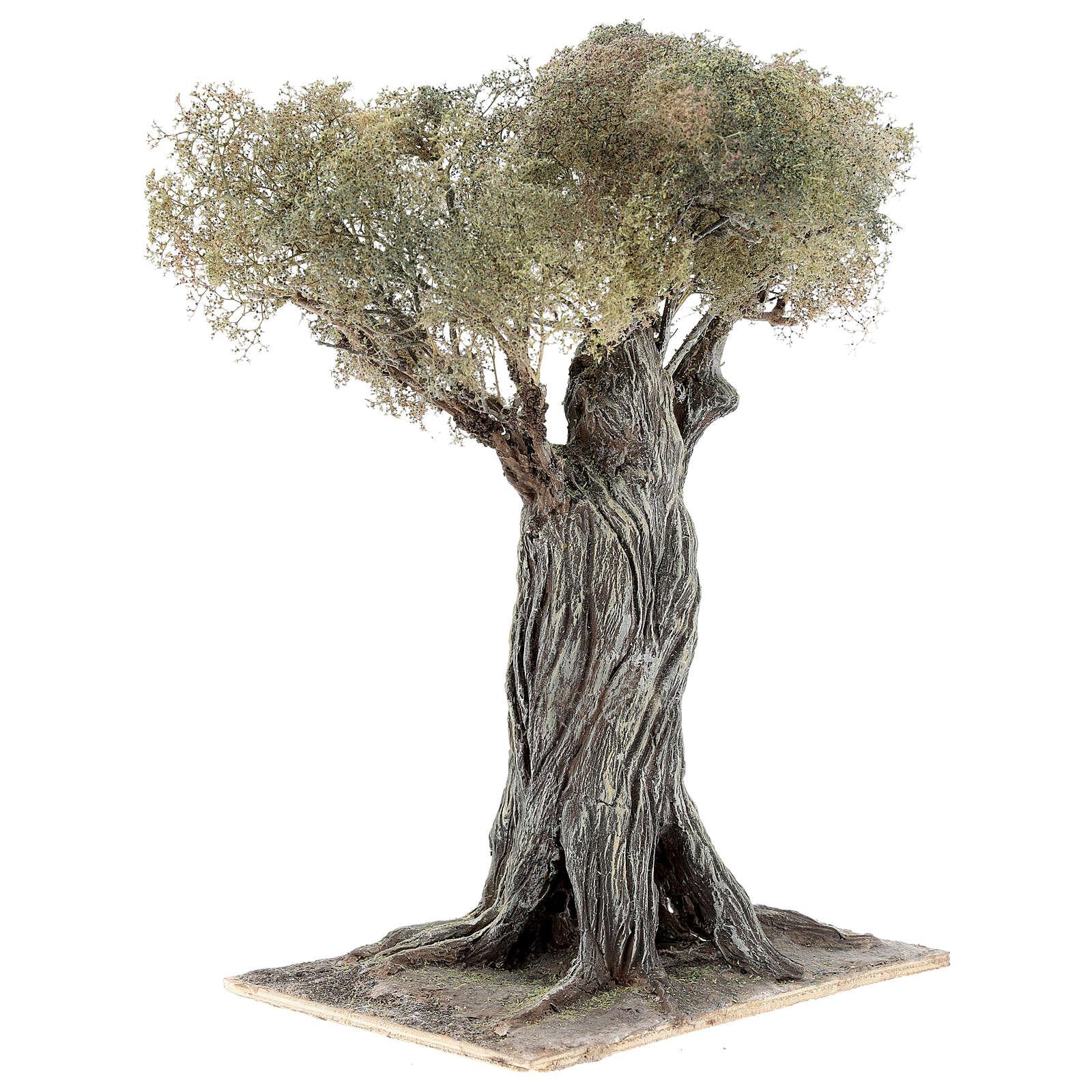 Miniature olive tree Neapolitan nativity scene 30 cm in papier mache wood 4