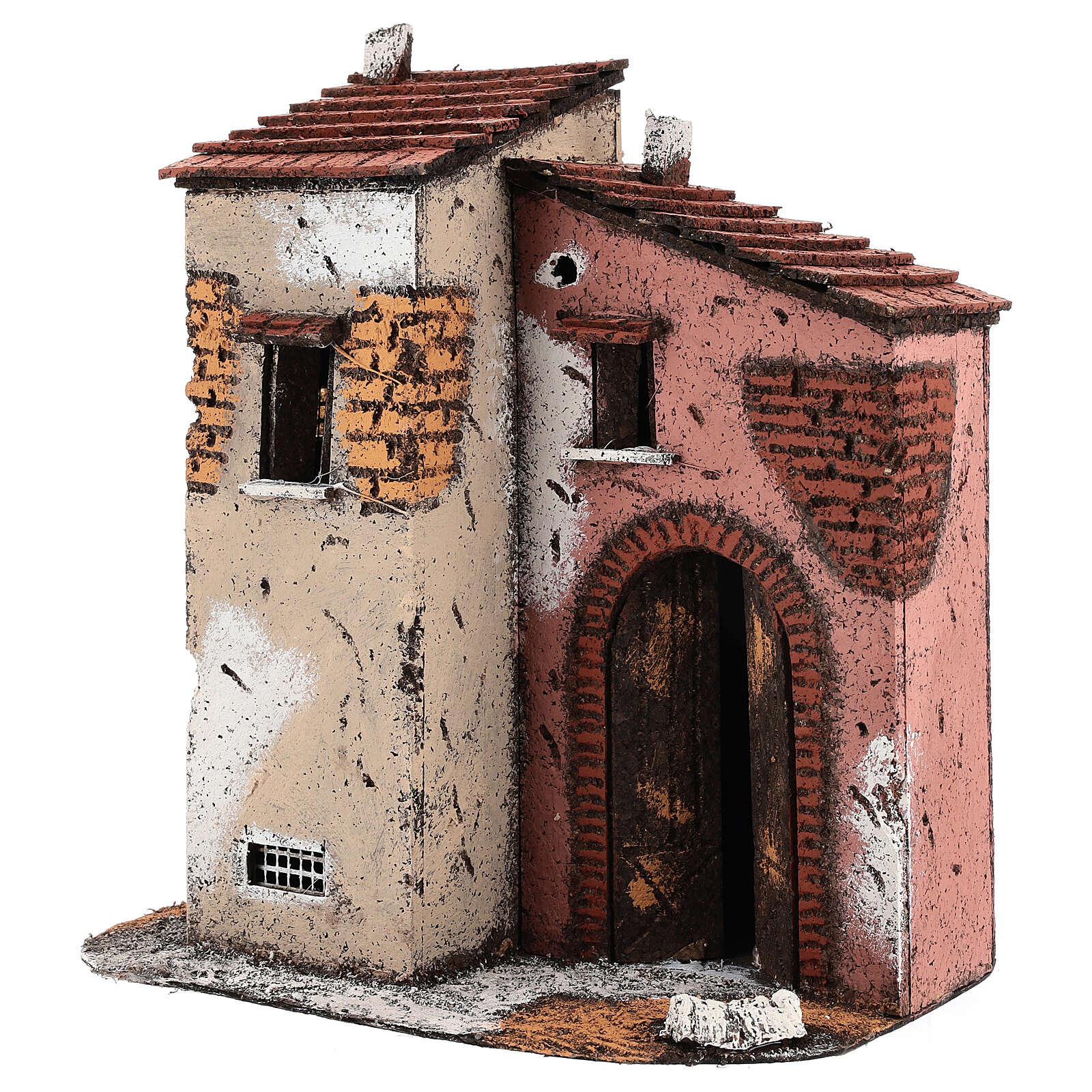 Neapolitan Nativity scene houses in cork and wood open door 25x25x15 for statues 10-12 cm 4