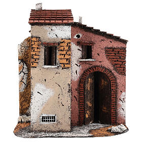 Neapolitan Nativity scene houses in cork and wood open door 25x25x15 for statues 10-12 cm s1