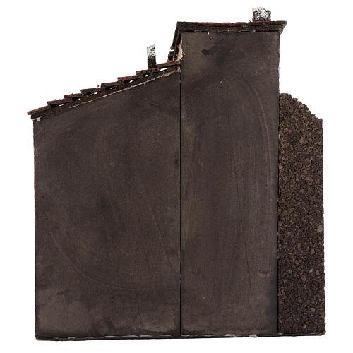 Case presepe napoletano sughero legno portone aperto 25x25x15 per 10-12 cm 4