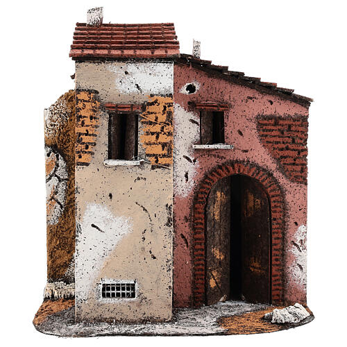 Cork and wood house for Neapolitan Nativity Scene open gate 25x25x15 cm for 10-12 cm figurines 1