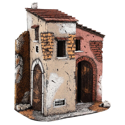 Cork and wood house for Neapolitan Nativity Scene open gate 25x25x15 cm for 10-12 cm figurines 3