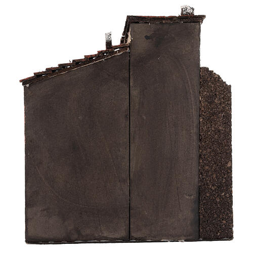 Cork and wood house for Neapolitan Nativity Scene open gate 25x25x15 cm for 10-12 cm figurines 4
