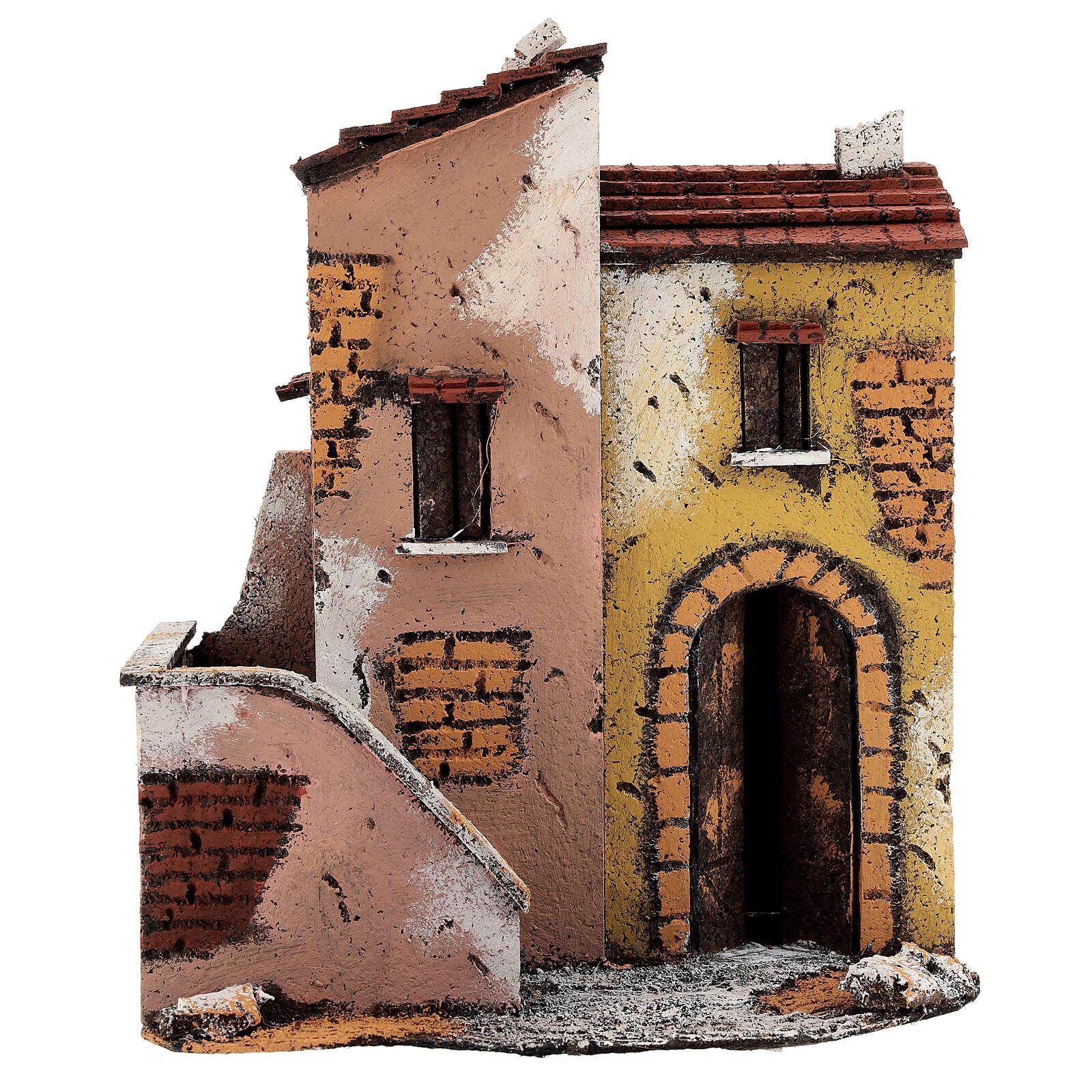 Adjacent houses for Neapolitan Nativity scene 25x25x15 for statues 8-10 cm 4