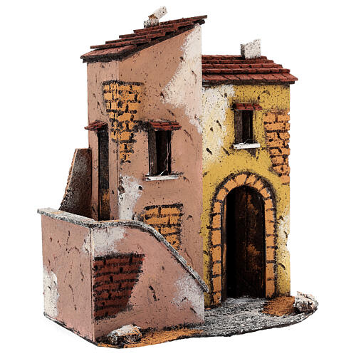 Adjacent houses for Neapolitan Nativity Scene 25x25x15 cm for 8-10 cm figurines 3