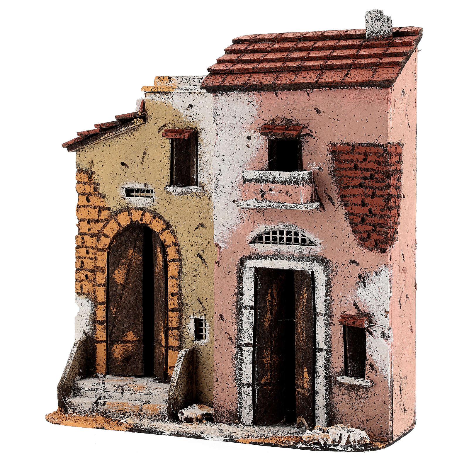Maisons sur route crèche napolitaine liège 25x25x10 cm pour santons 10 m 4