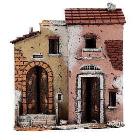 Casas à beira da estrada em miniatura para presépio napolitano com figuras de altura média 10 cm, 27x24x12 cm s1