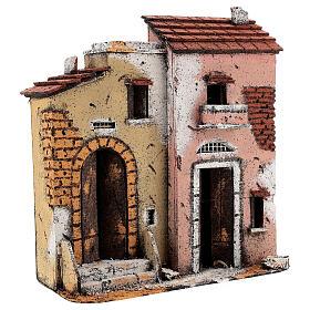 Casas à beira da estrada em miniatura para presépio napolitano com figuras de altura média 10 cm, 27x24x12 cm s2
