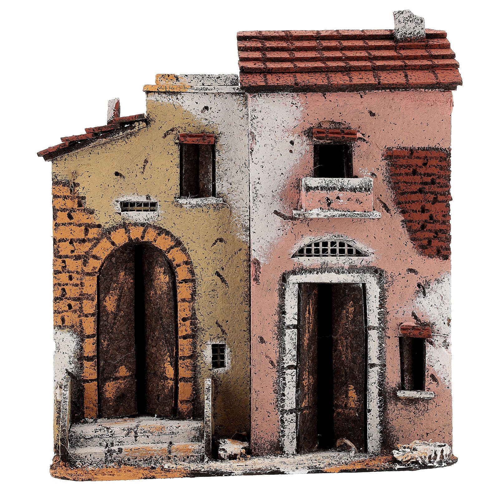 Cork houses on a road Neapolitan Nativity Scene 25x25x10 cm for 10 cm figurines 4