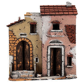 Cork houses on a road Neapolitan Nativity Scene 25x25x10 cm for 10 cm figurines s1