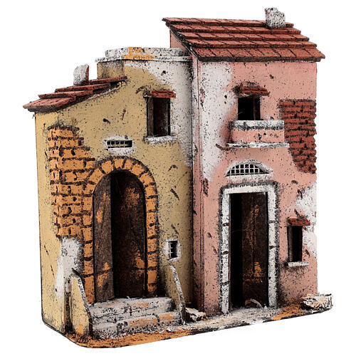 Cork houses on a road Neapolitan Nativity Scene 25x25x10 cm for 10 cm figurines 2