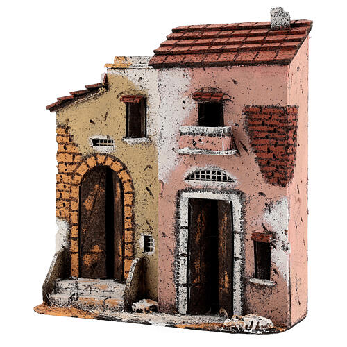 Cork houses on a road Neapolitan Nativity Scene 25x25x10 cm for 10 cm figurines 3