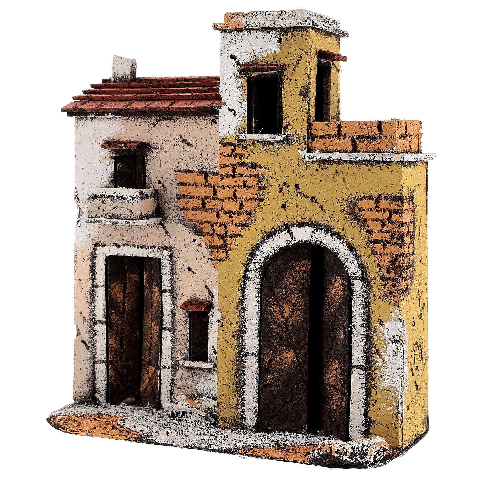 Décor maisons sur route terrasses crèche napolitaine 25x25x10 cm pour santons 10 cm 4