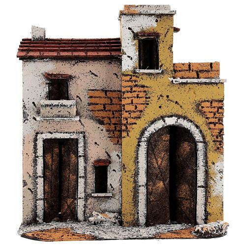 Décor maisons sur route terrasses crèche napolitaine 25x25x10 cm pour santons 10 cm 1