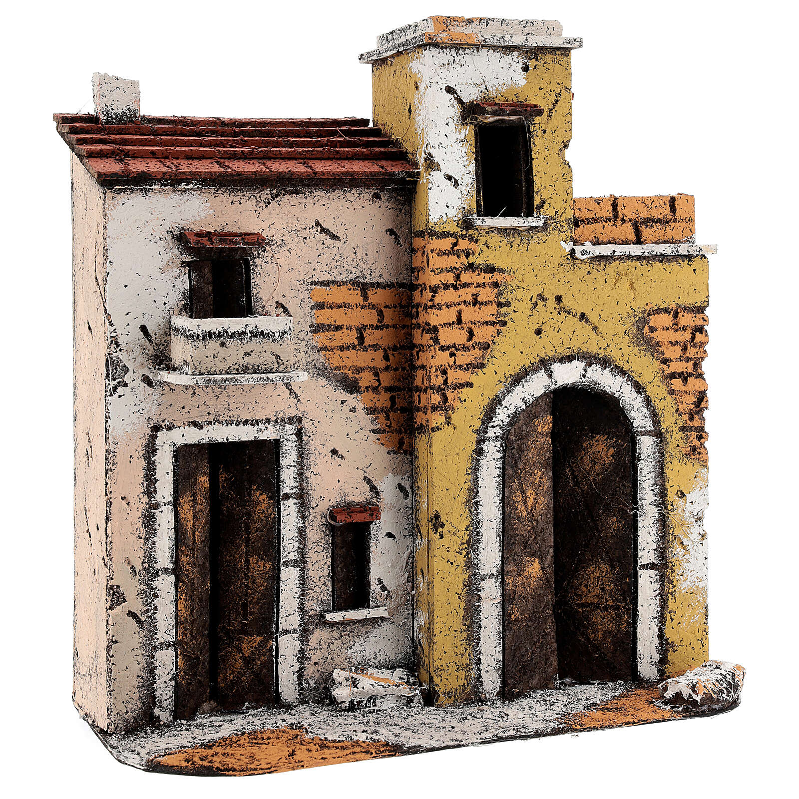 Neapolitan Nativity Scene setting houses on a road with balconies 25x25x10 cm for 10 cm figurines 4