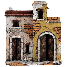 Neapolitan Nativity Scene setting houses on a road with balconies 25x25x10 cm for 10 cm figurines s1