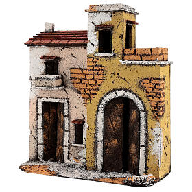 Neapolitan Nativity Scene setting houses on a road with balconies 25x25x10 cm for 10 cm figurines s2