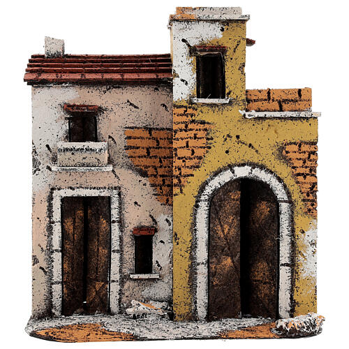 Neapolitan Nativity Scene setting houses on a road with balconies 25x25x10 cm for 10 cm figurines 1