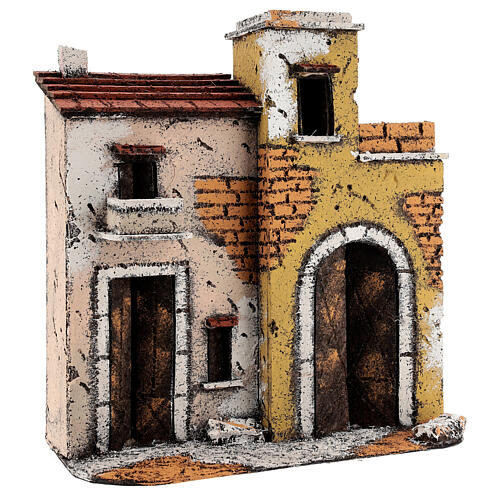Neapolitan Nativity Scene setting houses on a road with balconies 25x25x10 cm for 10 cm figurines 3