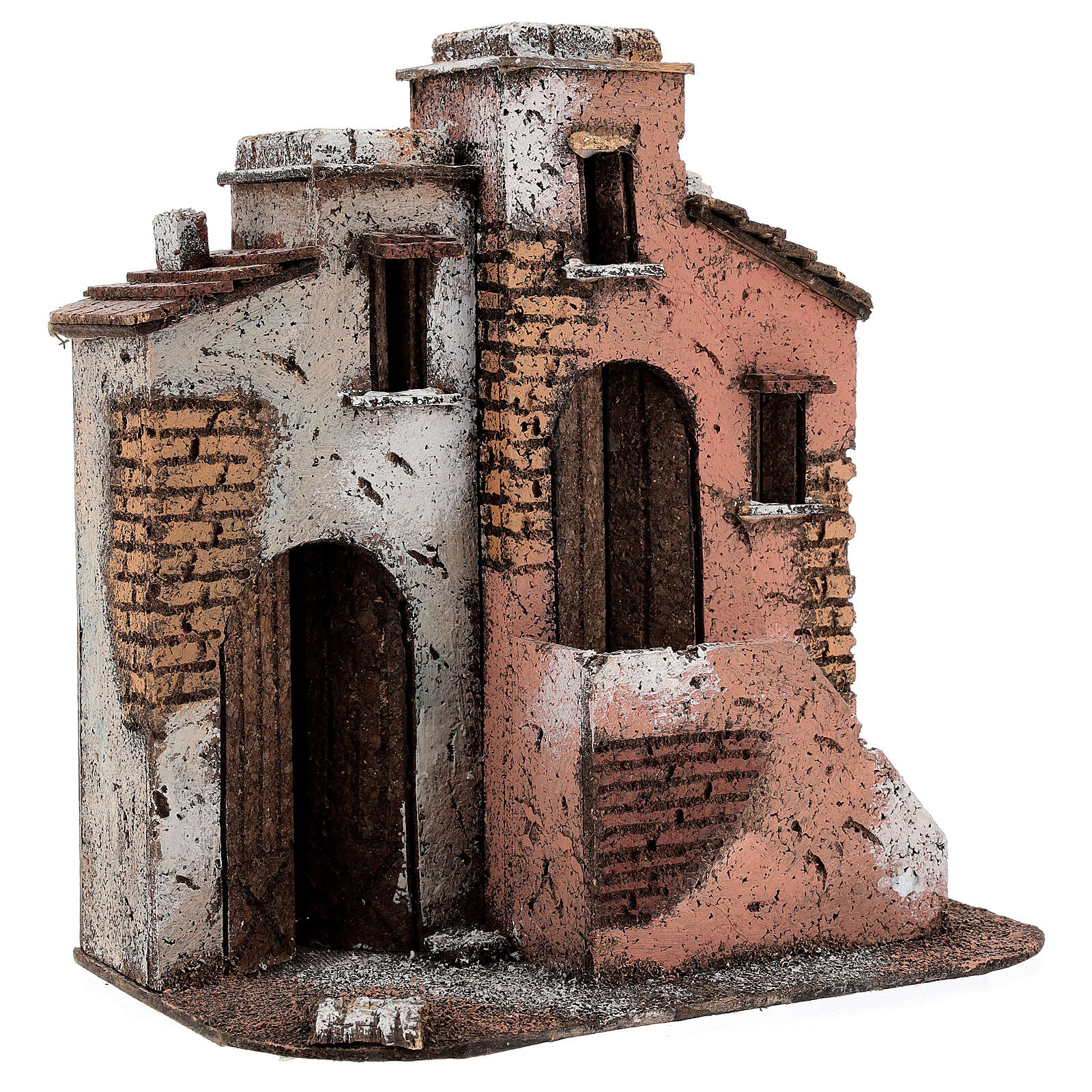 Cork houses setting Neapolitan Nativity scene 25x25x15 for statues 10 cm 4