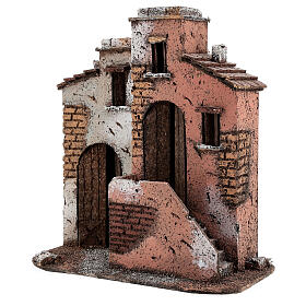 Cork houses setting Neapolitan Nativity scene 25x25x15 for statues 10 cm s2