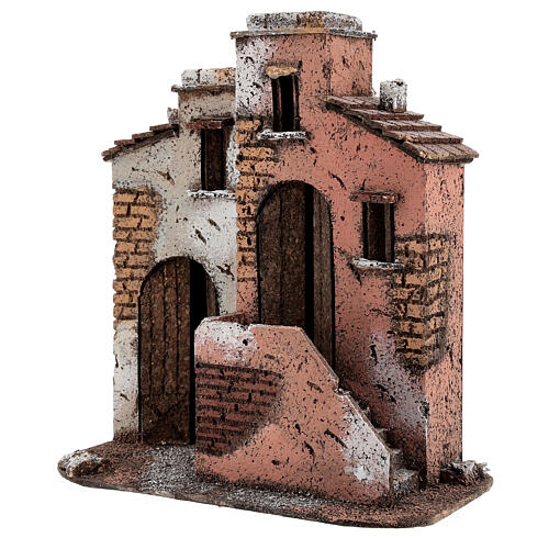 Cork houses setting Neapolitan Nativity scene 25x25x15 for statues 10 cm 2