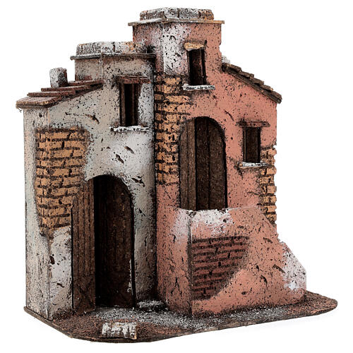 Cork houses setting Neapolitan Nativity scene 25x25x15 for statues 10 cm 3