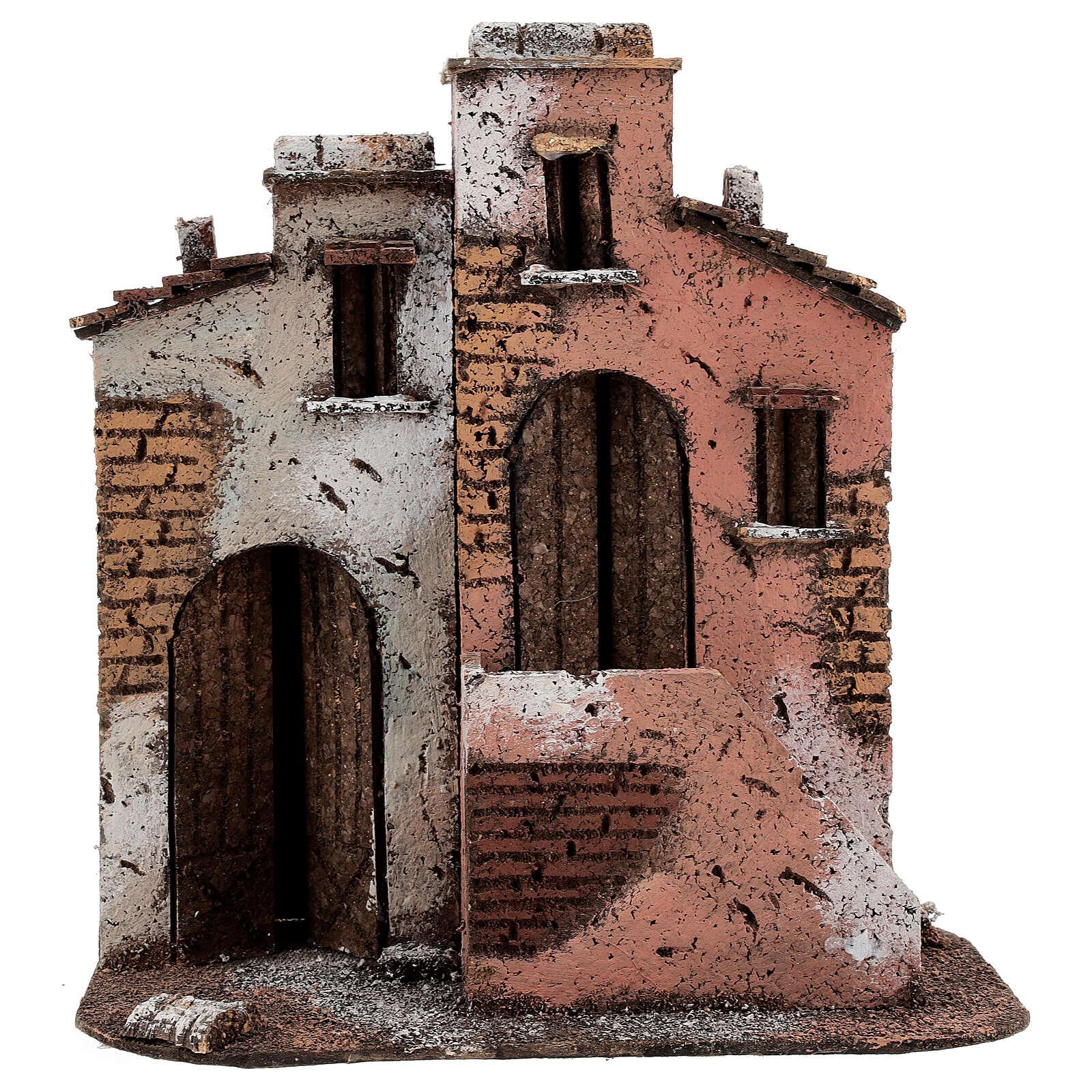Casas em miniatura de cortiça cenário para presépio de Natal com figuras de altura média 10 cm, 26,5x25x15 cm 4
