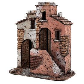 Casas em miniatura de cortiça cenário para presépio de Natal com figuras de altura média 10 cm, 26,5x25x15 cm s2